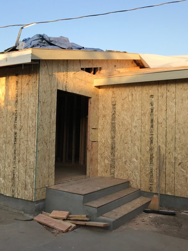 exterior plywood room addition Lakewood